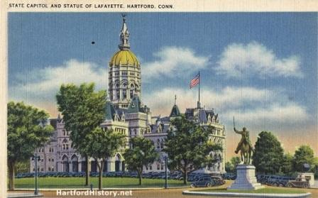 The state Capitol and the statue of Lafayette